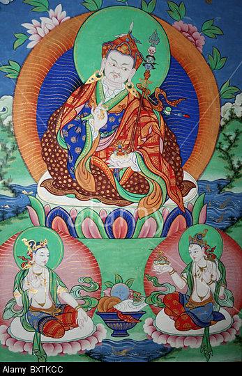 BXTKCC The Sage Guru Rinpoche (Padmasambhava) with his two consorts, Mandarava and Yeshe Tsogyal