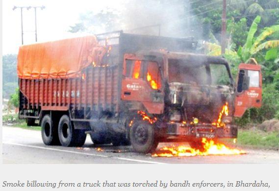 torched truck saptari bhardaha tht 11 sep