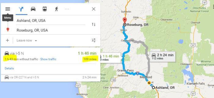 roseburg ashland direction 109 miles