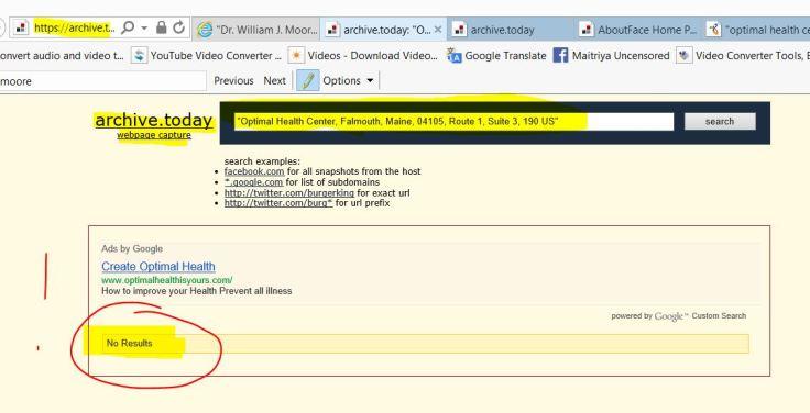 no optimal health center in internet archive